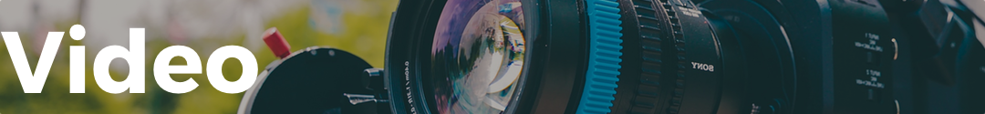Video banner with video camera lens